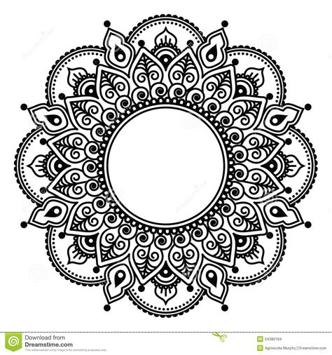 mehndi indian henna floral tattoo round pattern stock