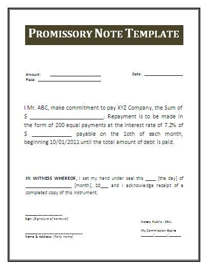 promissory note template canada promissory note form free printable documents