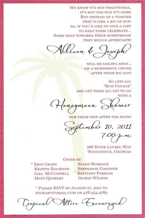 Honeymoon Bridal Shower Invitation Wording by Honeymoon Shower On Honeymoon Bridal Showers