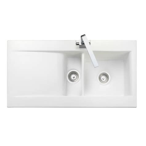 nevada bowl 1 2 white ceramic kitchen sink