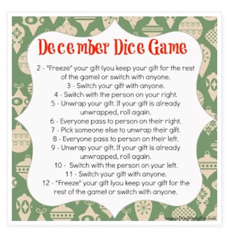 christmas exchange dice game christmas ideas