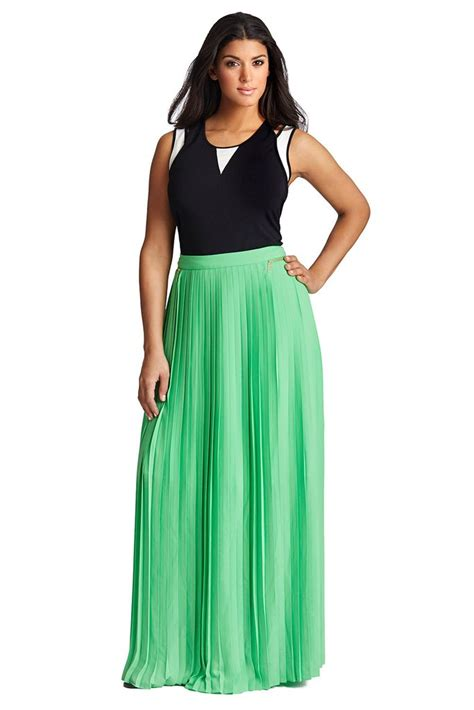 plus size pleated maxi skirt in bright poison green mynt