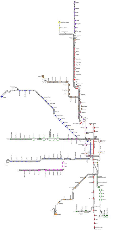 chicago map png track schematic cta rail chicago transit forum