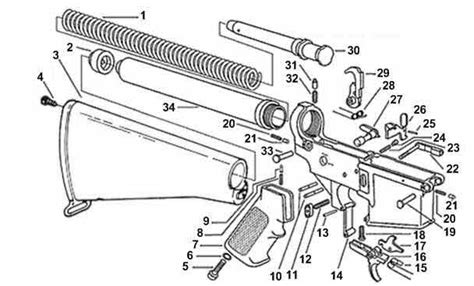 ar 15 parts diagram lower receiver 6 best images of m4 parts diagram m4 carbine parts