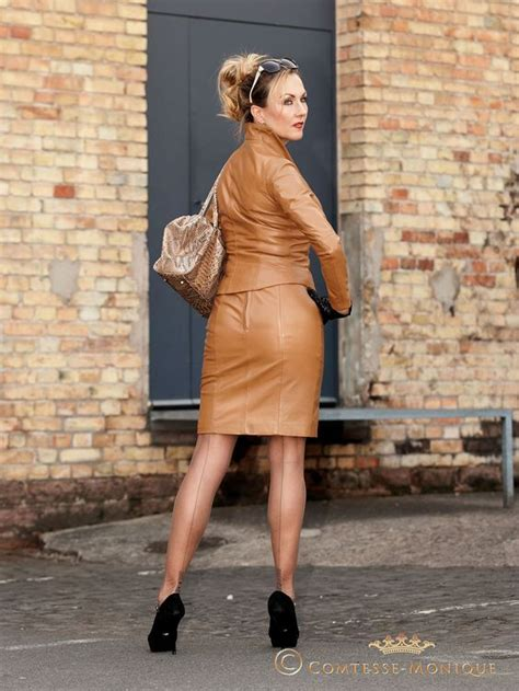 stockings under suit brown leather skirt skirt suit and black high heels on
