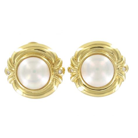 mabe pearl earrings in 18ct gold from browns family jewellers