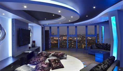 Fantastic Gypsum Board Ceiling For Modern Home Ideas With Glass Windows And Sparkling Blue LED