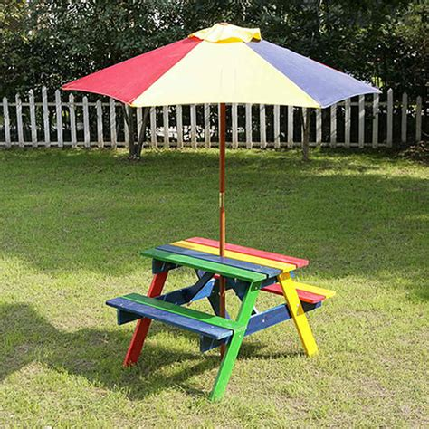 kids table and bench kids picnic bench with parasol home garden furniture