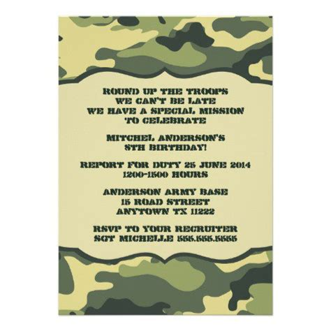 Free Printable Camouflage Invitations Camouflage Invitations Template Free