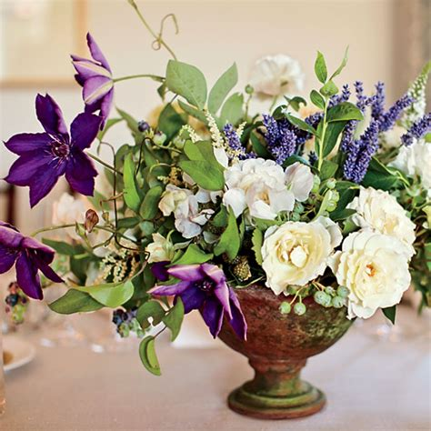 White and Purple Floral Centerpieces   Wedding Flowers