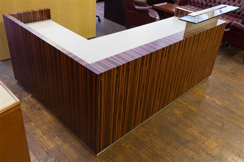 Wood Reception Desks Custom Low Profile Tiger Wood Reception Desk From The Feature Quot Basic Math Quot Peartree