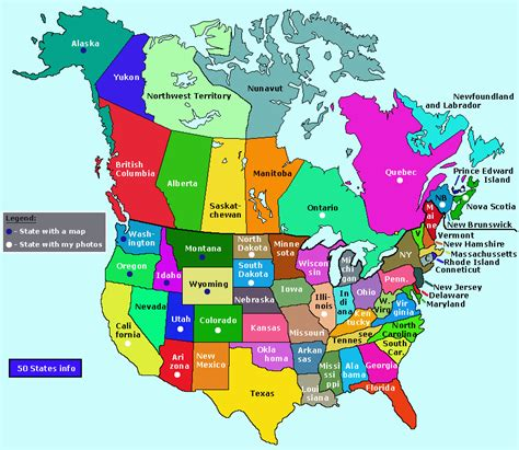 usa states  canada provinces map  info