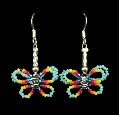 butterfly beaded earrings light blue beaded butterfly dangle earrings navajo