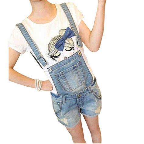 Celana Wanita Overall Pendek overall musim panas untuk wanita baju monyet jumpsuit denim suspender celana pendek