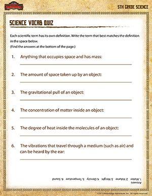 science vocab quiz 5th grade science printables online