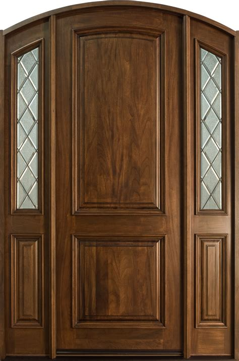 Custom Wood Exterior Doors Front Door Custom Single With 2 Sidelites Solid Wood With Walnut Finish Classic Model Db