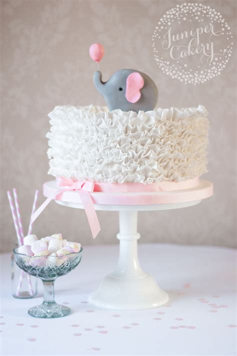 Baby Shower Birthday Cake by Elephant Ruffle Baby Shower Cake By Juniper Cakery A