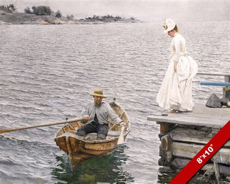 row boat verses woman in white dress man in row boat fine art painting