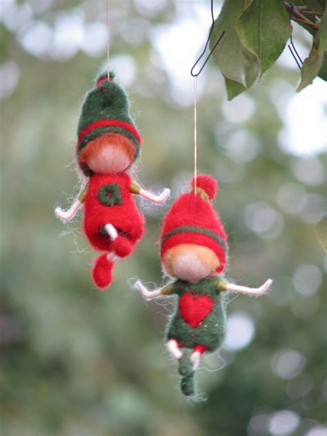 needle felted waldorf inspired christmas gnome s ornament