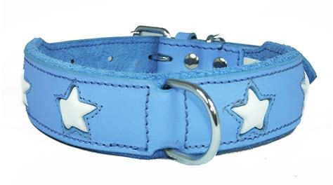 wholesale collars blue leather wholesale collar with white design small to big dogs staffy collars