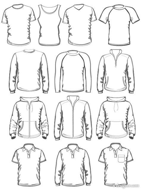 templates for photoshop mens clothing 4 designer 3d clothing template 04 vector material