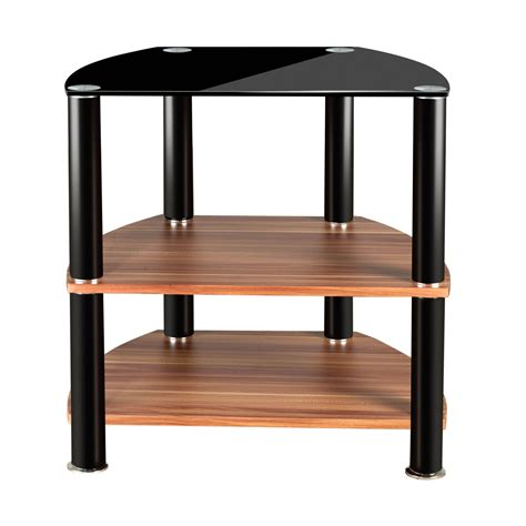 tv table 2 tier black glass wooden tv table