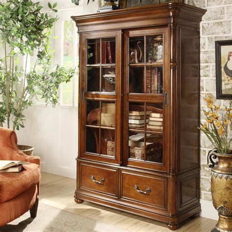 Double Sliding Glass Door Bookcase By Riverside Furniture Bookcases With Sliding Doors