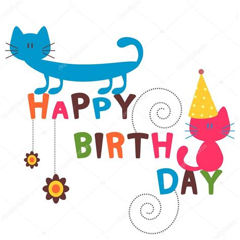 imagenes happy birthday funny card di buon compleanno con gatti divertenti vettoriali