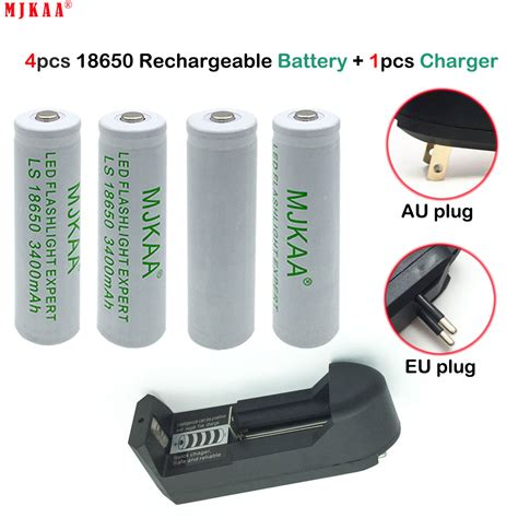7 4 v li ion battery charger 4pcs 18650 rechargeable battery 3 7v li ion battery one