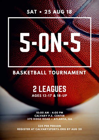 5 On 5 Basketball Tournament Poster Templates By Canva Basketball Poster Template