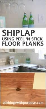 Faux Shiplap Backsplash with Peel ?n Stick Flooring
