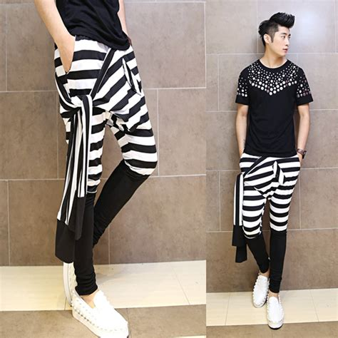 Korean Style P1046 Grey 31 33 2015 japanese new fashion casual harem striped