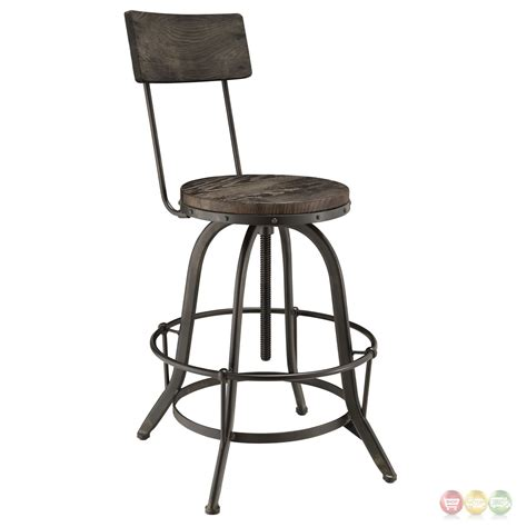 Set Of 3 Wood Bar Stools by Set Of 2 Procure Industrial Bar Stool W Wood Seat Backs