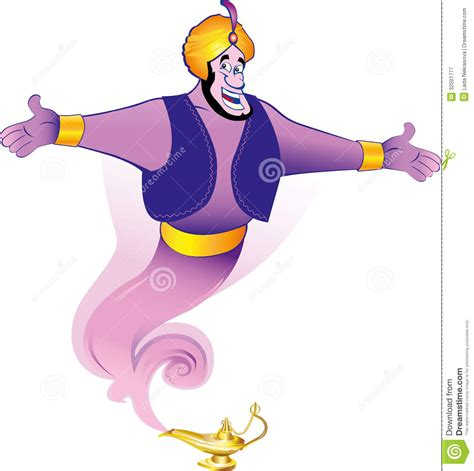 magic genie granting the wish stock illustration image