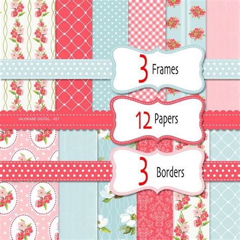 shabby chic digital paper pack in pink and blue digital