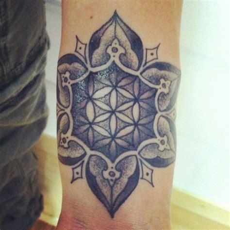 mandala tattoo nj gray ink flower of life in mandala tattoo on arm