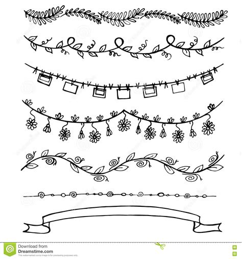 free doodle lines line floral borders laurels and text dividers stock