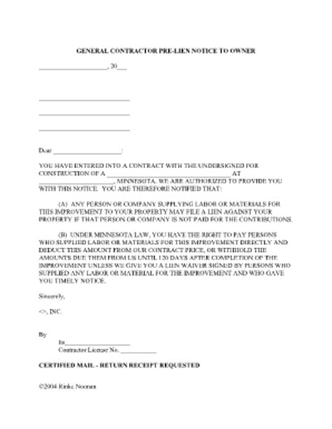 notice of lien letter template 20 day preliminary lien notice form mn fill
