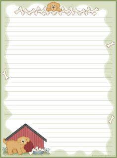 printable writing paper with dogs butterflies free printable stationery for kids primary