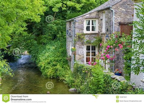 old english cottage on river stock image image of flow