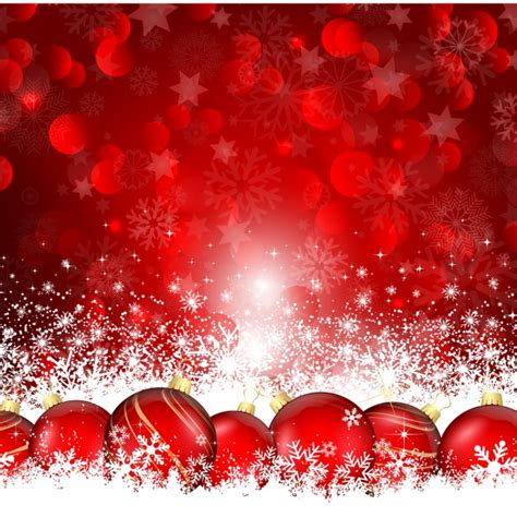 christmas balls on the snow red background vector free