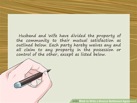 write  divorce settlement agreement  pictures