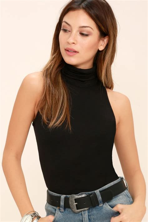 Top Neck Black black turtleneck top black top sleeveless top