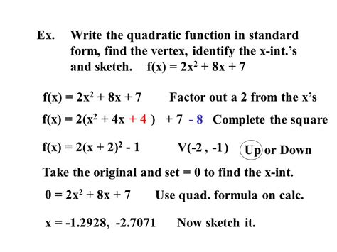 2 1 quadratic functions use the graphing calculator and