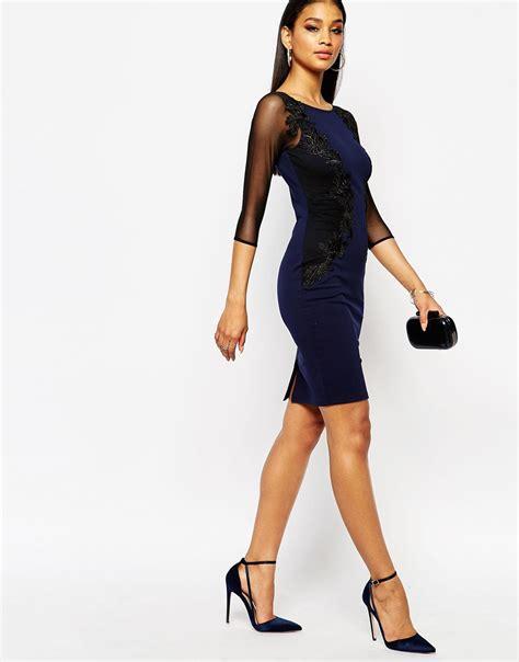 Dress Bodycon Sheer Dada Maronbiru lipsy lace applique bodycon dress with sheer sleeve in blue lyst