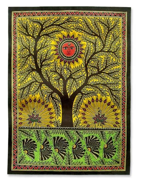 5 X 8 Bamboo Rug Original Madhubani Painting Folk Art Signed Tree Of Life