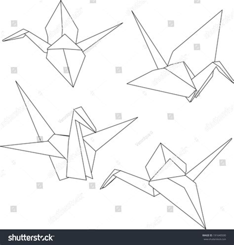 Ancient Japanese Origami - traditional japanese origami paper cranes stock vector