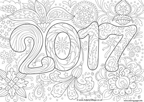 doodle adult new year 2017 coloring pages printable