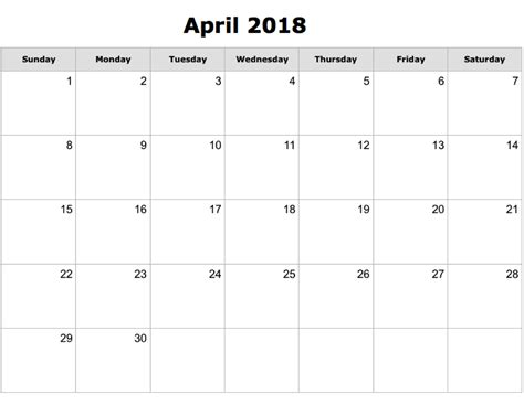 Printable April 2018 Calendar Editable 2018 Editable Calendar Template