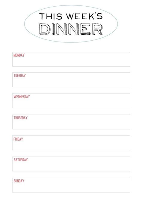 printable blank dinner menu planner printable menu template to make the planning of next